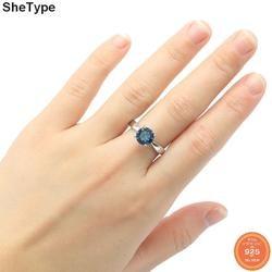 Кольца из серебра 2,3 пробы с изображением лондонского голубого топаза, 8 х8 мм, 925 г