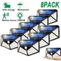 100LED applique da parete solari per esterni con sensore di movimento lampada da giardino impermeabile faretto ad energia solare per cortile