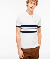 LACOSTE POLO PLAIN NAVY STRIPES poloshirts fashion short sleeve white color BRand Crocodile for men