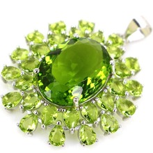 36x26mm Luxury 5.0g Created Green Peridot Real 925 Solid Sterling Silver Pendant