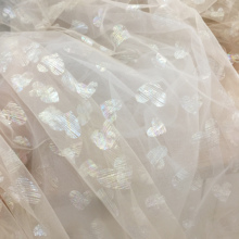 5 yards lovely soft champagne lace tulle with heart design, wedding for veils, skirts baby girls dress