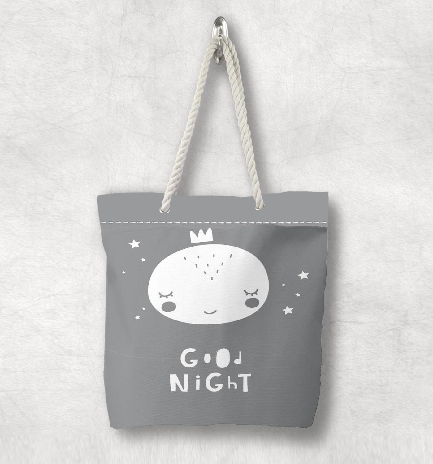 Else Gray White Good Nigh Sleep Prince  Scandinavian White Rope Handle Canvas Bag  Cartoon Print Zippered Tote Bag Shoulder Bag