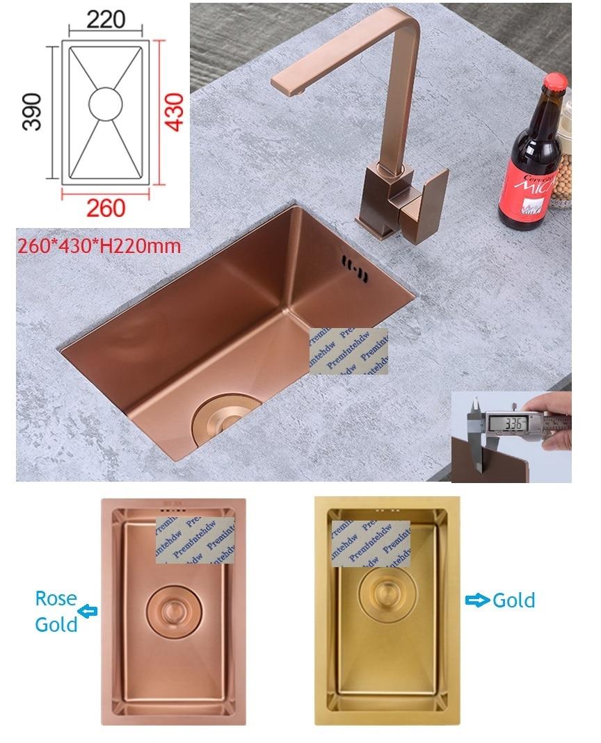 Rose Gold 304 Stainless Steel Square Kitchen Sink Faucet Set Mini Sink Bar RV Trailer Yacht Caravan