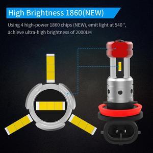 Image 3 - ナオH11 led HB4 フォグライトH8 HB3 H10 8 ワット 2000Lm自動H16 9005 9006 ブラブ 4SMD 1860 チップホワイトアンバー車の運転日ランニングランプ