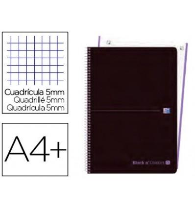 SPIRAL NOTEBOOK OXFORD EBOOK 1 PLASTIC CAP DIN A4 + 80 H GRID 5 MM BLACK'N COLORS MAUVE 5 PCs