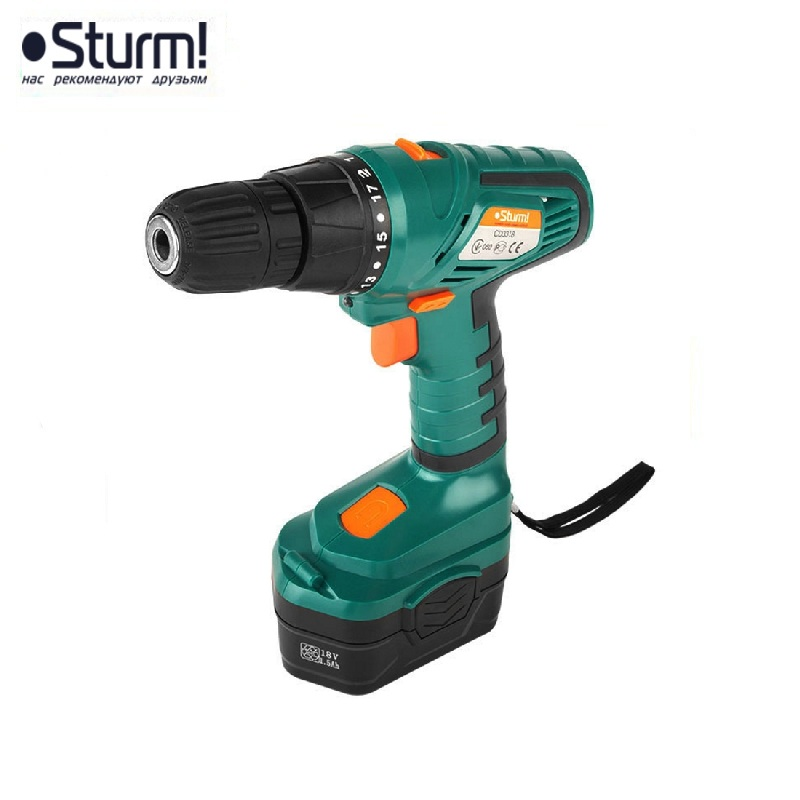 цена на CD3318 Cordless drill Sturm 18V, 2 speeds, 2 batteries, NiCd, 1.5 Ah, PODSV, case Drill Mini Wireless Power Driver