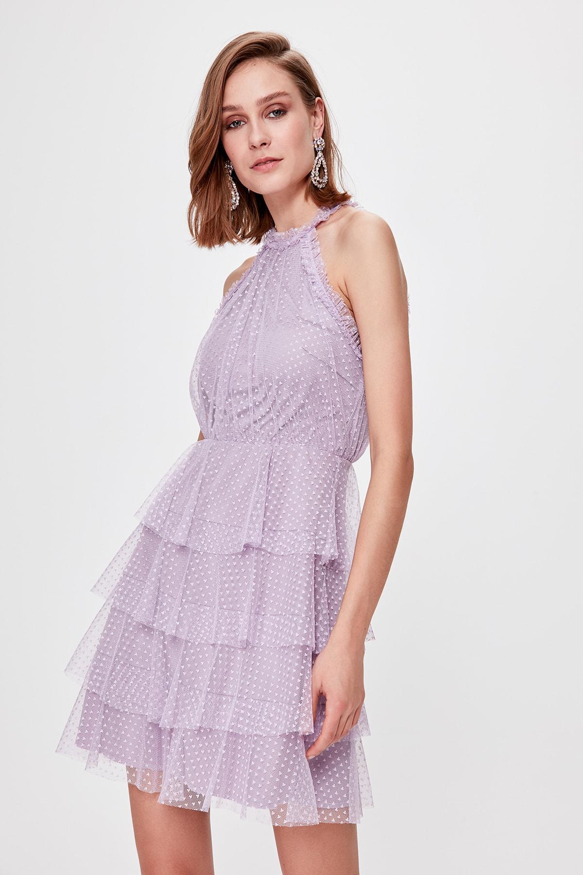 Trendyol Polka Dot Tulle Detailed Dress TPRSS20EL0357