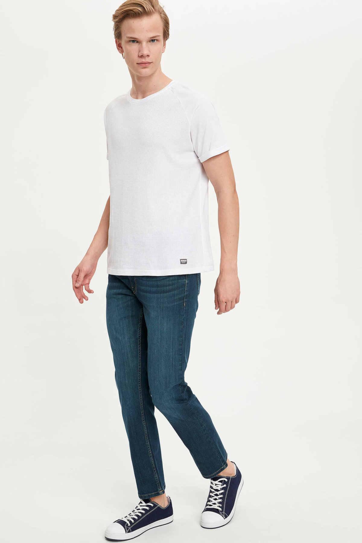 DeFacto Man niebieskie dżinsy męskie dorywczo proste spodnie jeansowe męskie w połowie talii dół Jeans-M7337AZ20SP
