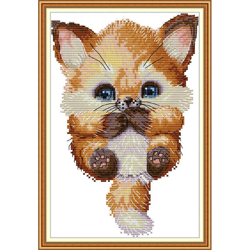 חמוד קטן שועל בעלי חיים קריקטורה לרקום DIY עבודת יד נספר מודפס בד סיני תפר צלב DMC 14 11CT סטי רקמה