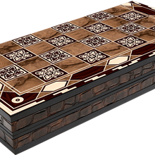 Wooden Backgammon with Checkers Outside Board Gift for Men Chess Checker Family Board Game Set with Walnut Design Backgammon Set