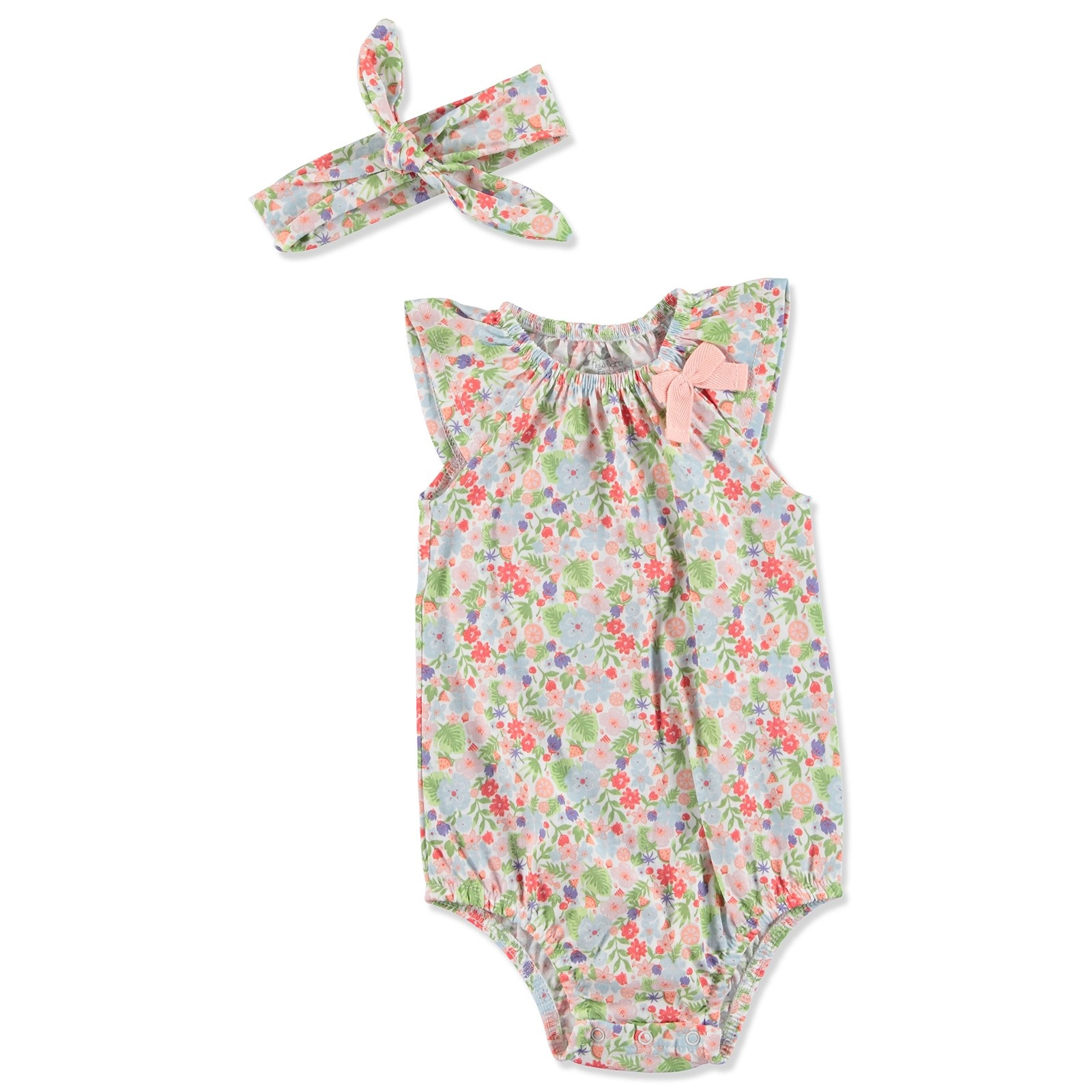 Ebebek Newborn Fashion Club Tropical Summer Baby Girl Bodysuit Hairband