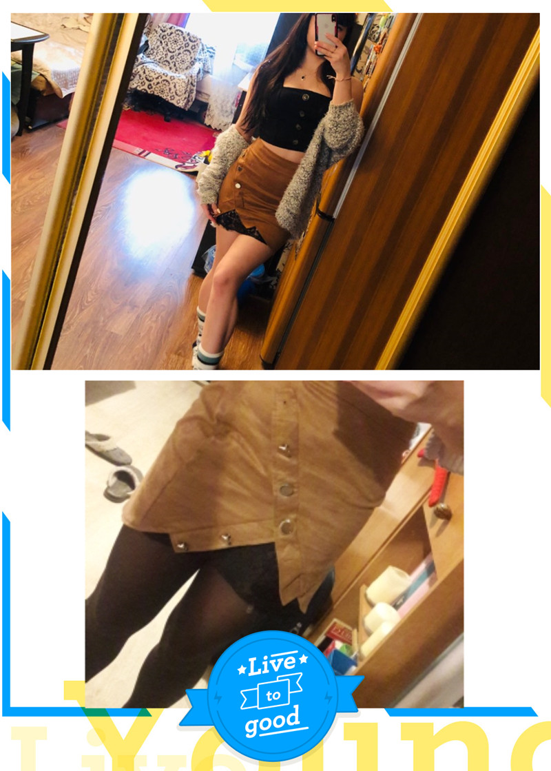 New fashion Women Ladies High Waist Pencil Skirts button lace patchwork sexy Bodycon Suede Leather split party casual Mini Skirt 19