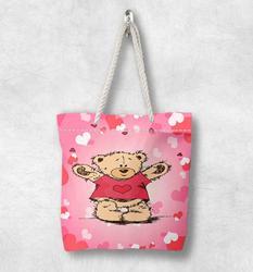 Else Розовый Белый Красный сердца милые медведи мода белая веревка ручка Холщовая Сумка Мультфильм печати на молнии сумка на плечо