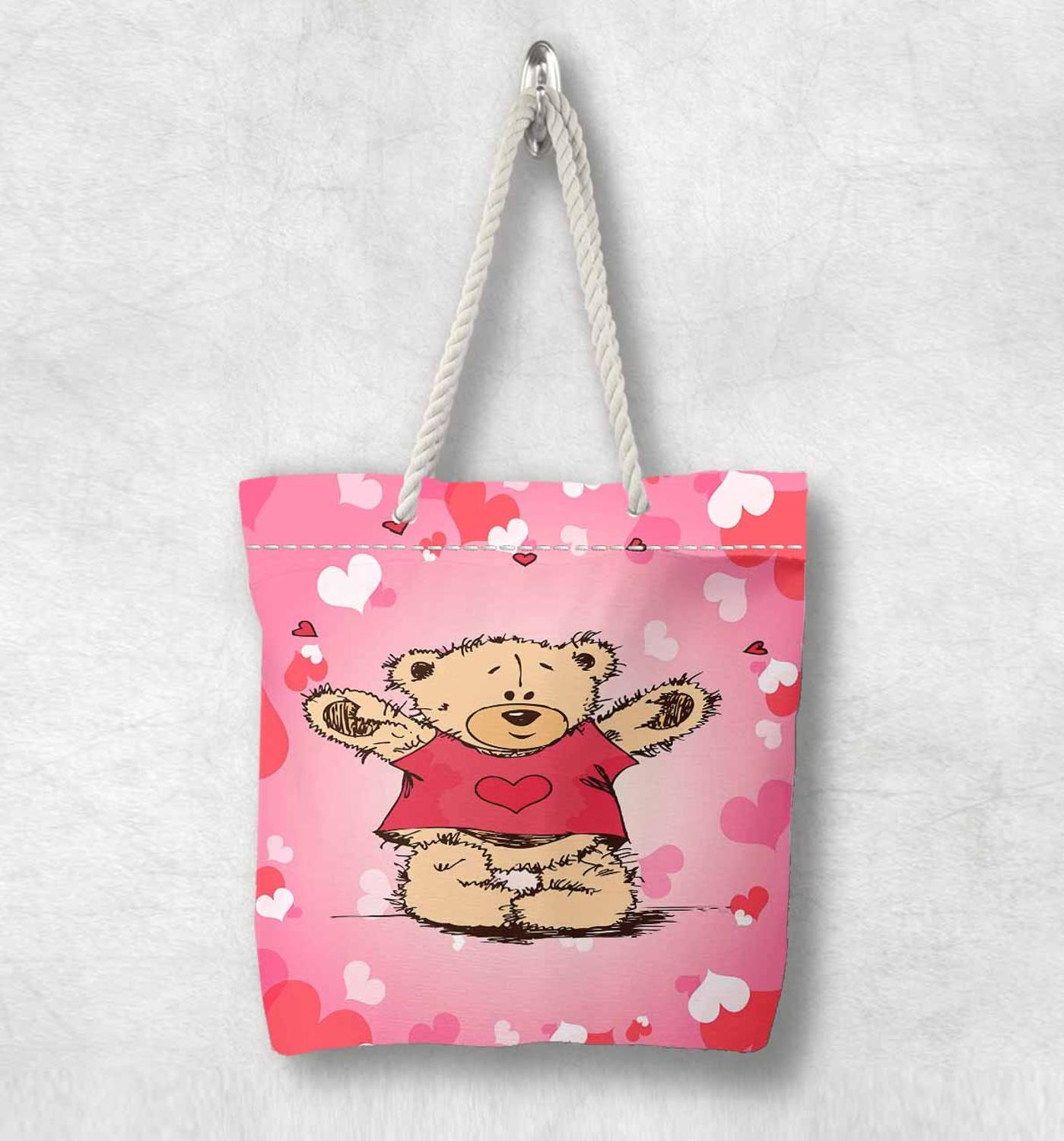 Else Pink White Red Hearts Cute Bears Fashion White Rope Handle Canvas Bag  Cartoon Print Zippered Tote Bag Shoulder Bag