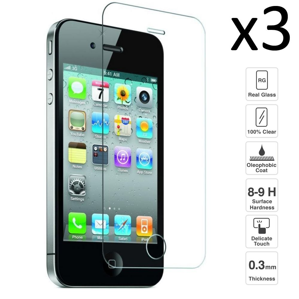 IPhone 4/4S Set 3 pieces screen Protector tempered glass