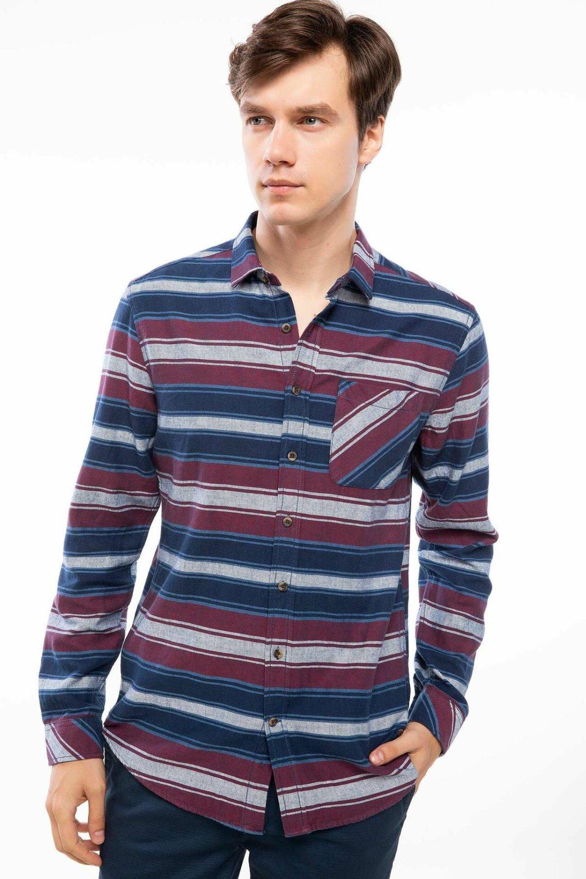 DeFacto Man Red Blue Striped Line Cotton Shirts Men's Casual Pockets Shirts Tops Long Sleeve Shirt-I9834AZ18AU