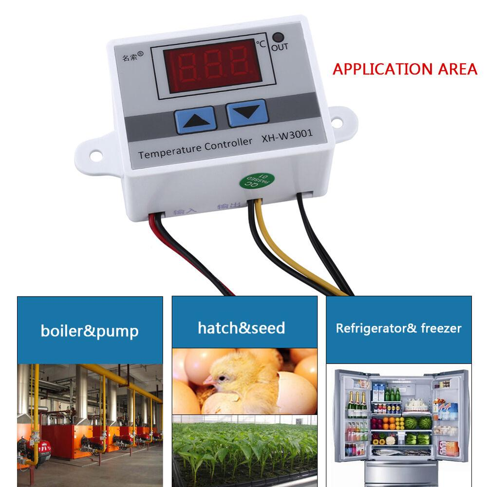 XH-W3001 W3001 Temperature Controller Digital LED Temperature Controller Thermometer Thermo Controller Switch Probe DC12V/AC220V