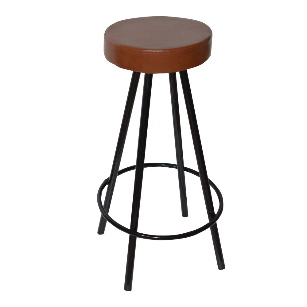 Stool KISEN, Epoxy Black, Similpiel Old Leather