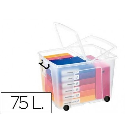 PLASTIC CONTAINER CEP 75 LITERS 485X600X415 MM TRANSPARENT WITH LID CLOSURE HERMETIC AND 4 WHEEL