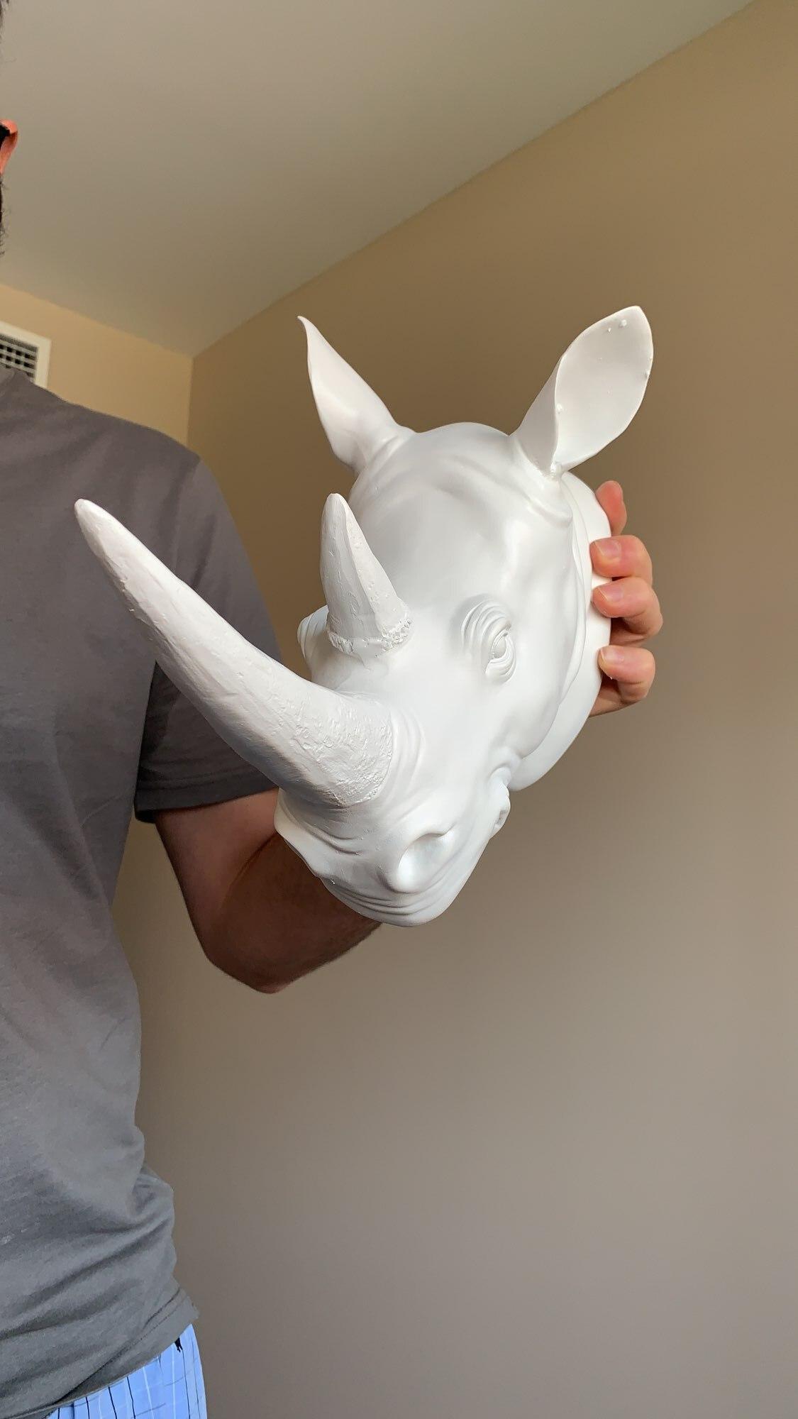 White Resin Rhinoceros Head Ornament photo review
