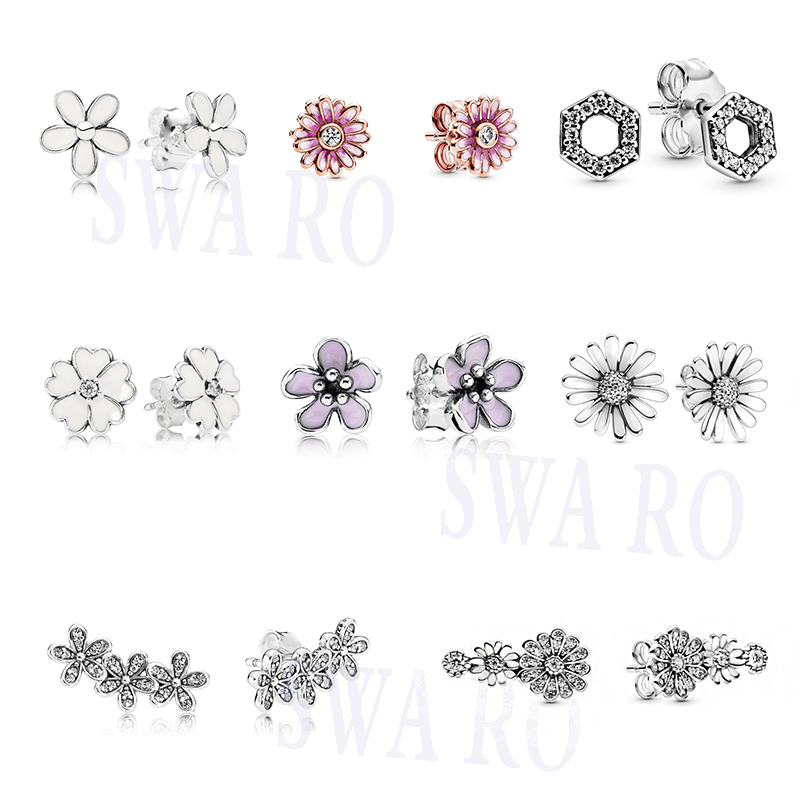 2020 Fashion New Silver 925 Sparkling Pavé, Pink Daisy Flower, Honeycomb Hexagon, Trio Stud Earrings Original Woman Jewelry Gift