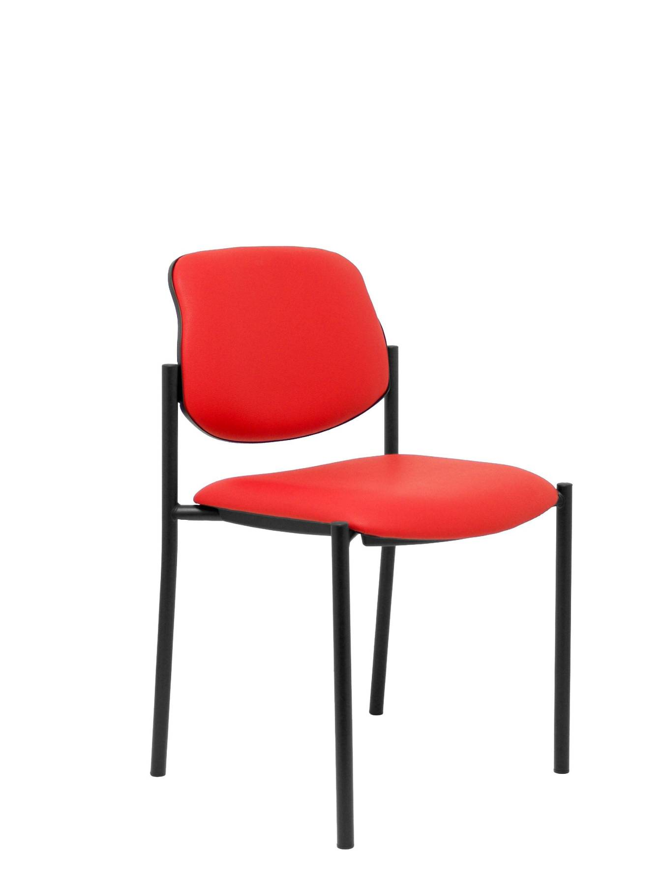 Visitor Chair 4's Topsy And Estructrua Negro-up Seat And Backstop Upholstered In Tissue Similpiel Red Color TAPHOLE AND