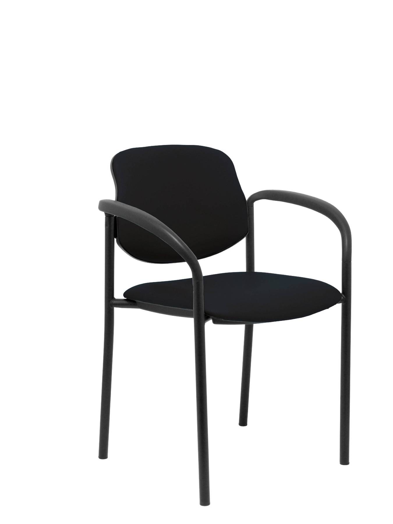 Visitor Chair 4's Topsy, With Arms And Estructrua Negro-up Seat And Backstop Upholstered In Tissue Similpiel Black PIQU