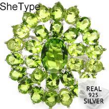 26x24 мм SheType гарантия 4,3 г Зеленый Перидот женские кольца из чистого серебра 925 пробы