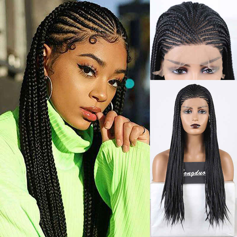 RONGDUOYI Long Heat Resistant Fiber Hair Lace Wig Black Synthetic Lace Front Wigs For Women Side Part Braided Box Braids Wig