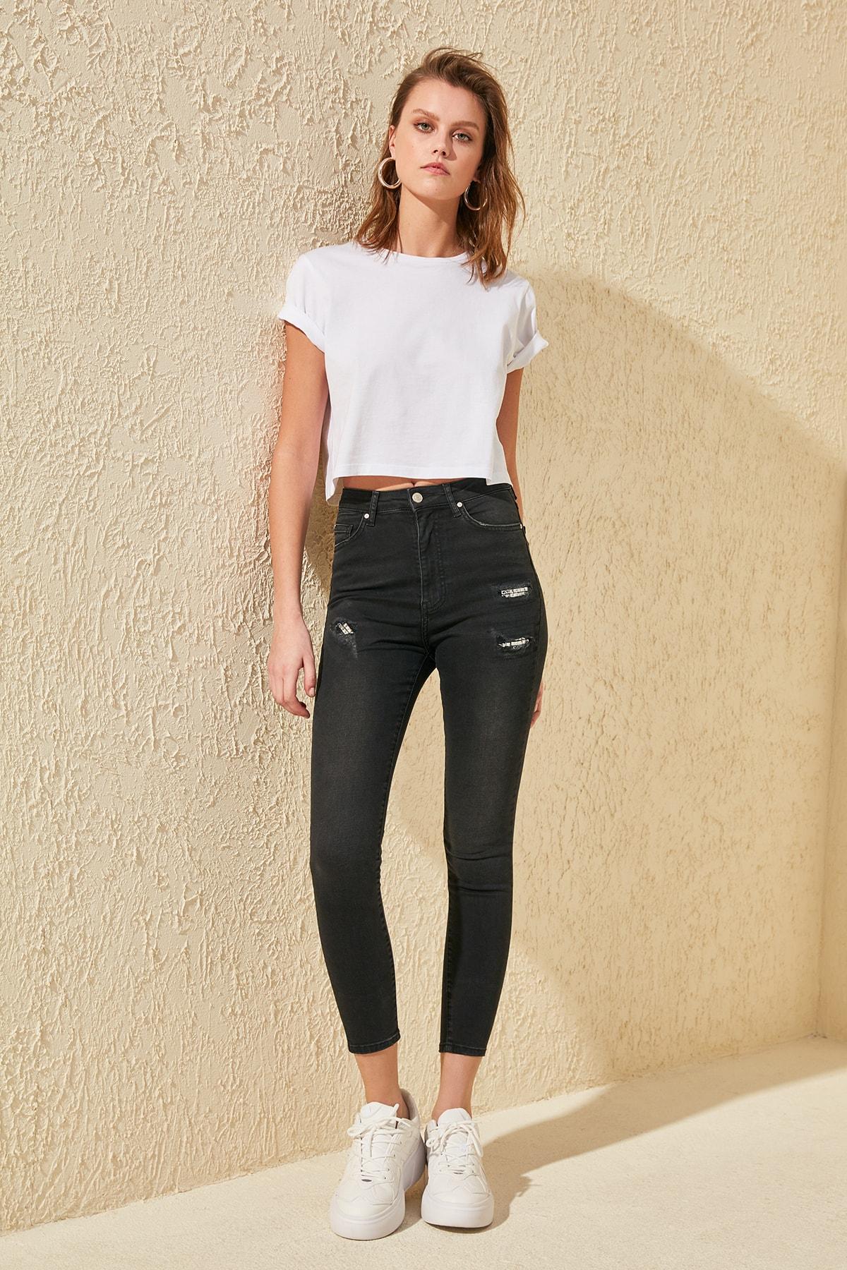 Trendyol Yırtıklı Stone Detail High Waist Skinny Jeans TWOSS20JE0022