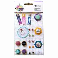 CRZCrafter Mix pattern round decorative brads 21pcs DIY for Scrapbooking Card making home decoration embellishments