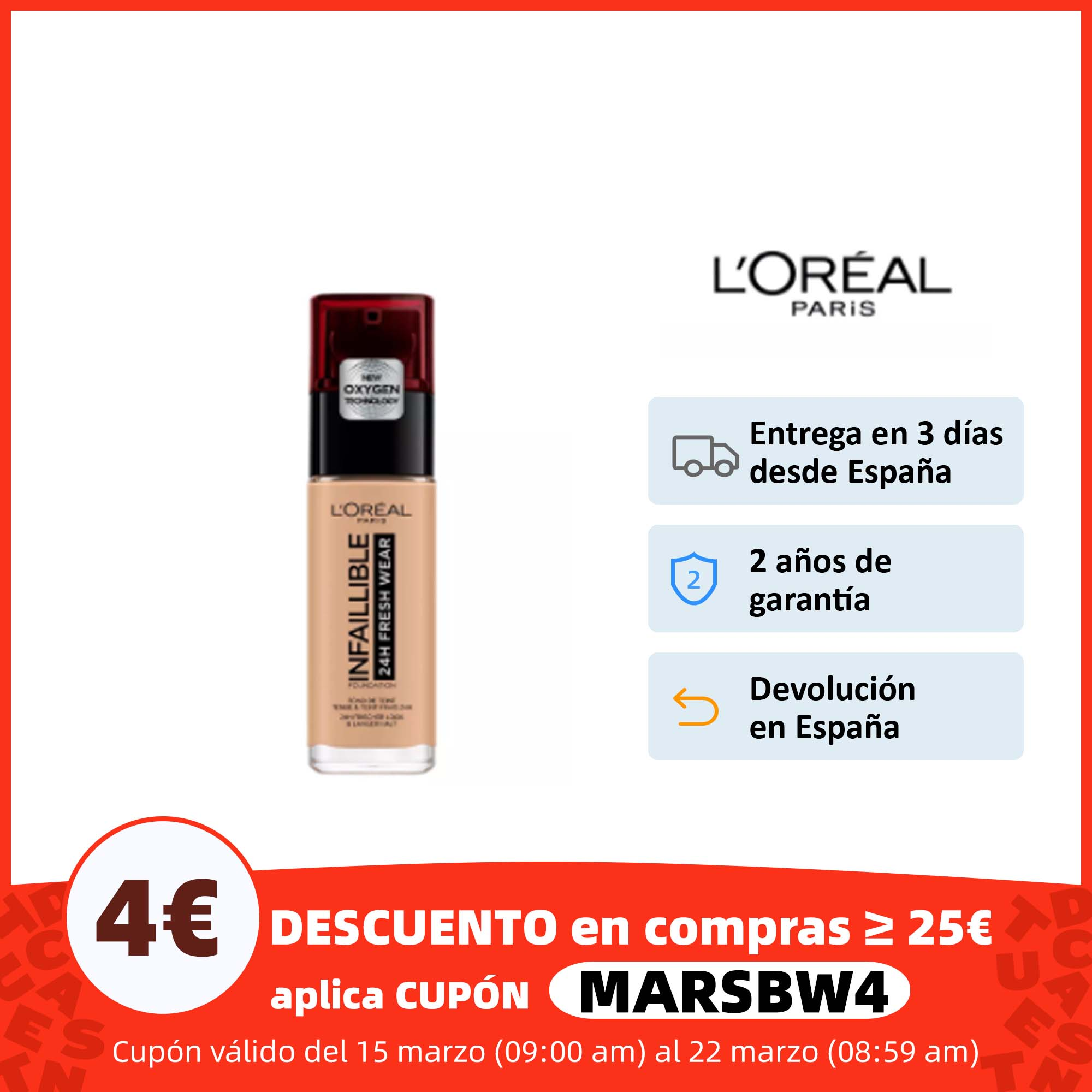 L'Oréal Paris Infalible 24H Fresh Wear Base Maquillaje de Larga Duración. Tonos 125, 200, 140 , 230, 130, 220, 300 y 225 30 ml Base de maquillaje  - AliExpress