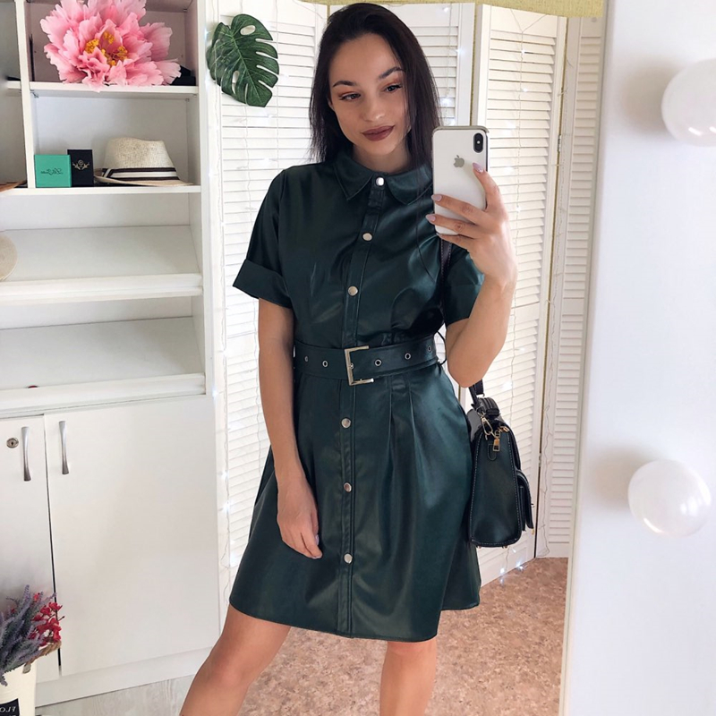 Women Vintage Front Button Sashes A-line PU Dress Short Sleeve Turn Down Collar Solid Elegant Dress 2020 New Early Spring Dress