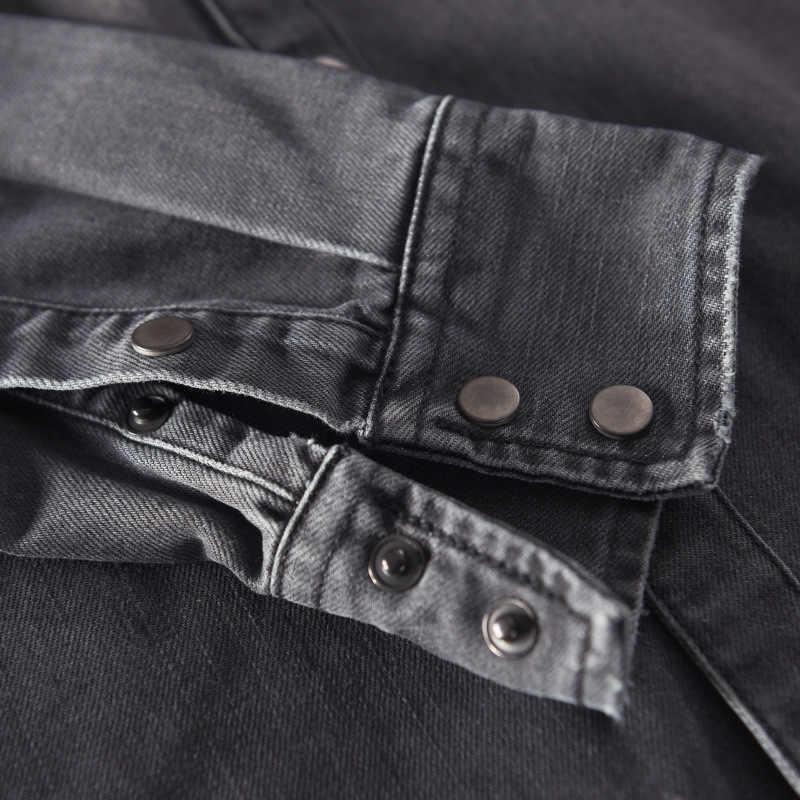 Новая мужская Повседневная джинсовая рубашка, тонкая Хлопковая весенняя однотонная мягкая мужская рубашка с длинным рукавом, высокое качество, серая джинсовая рубашка chemise homme 377