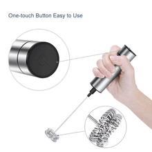 Presse-lait électrique puissant en acier inoxydable,appareil à mousser avec 2 accessoires, un fouet et un ressort