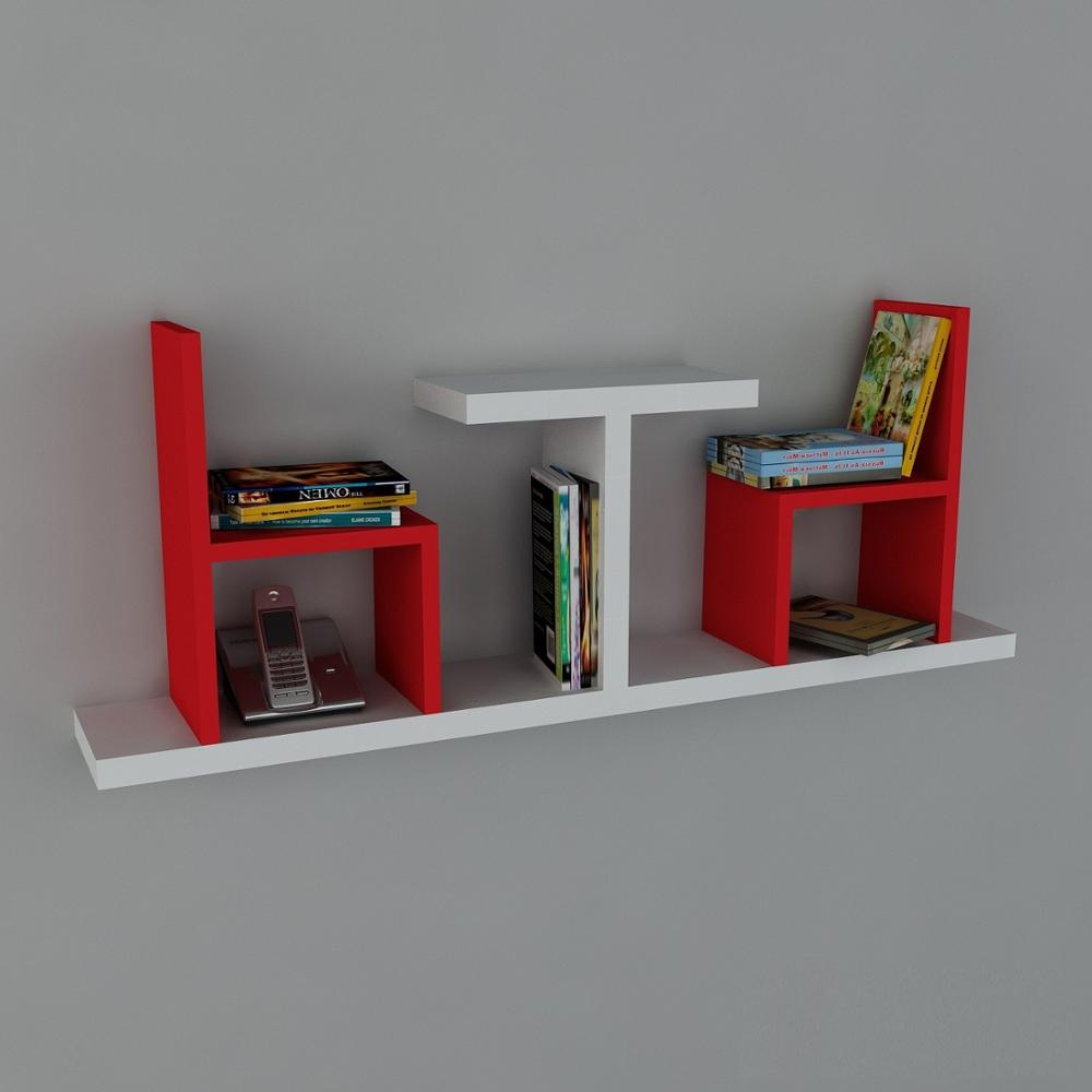 Shelf&Shelf MADE IN TURKEY Modern Shelf Decorative Red-White Living Room Wood Wall Book Holder Organizer Bookshelf Rack Bookcase