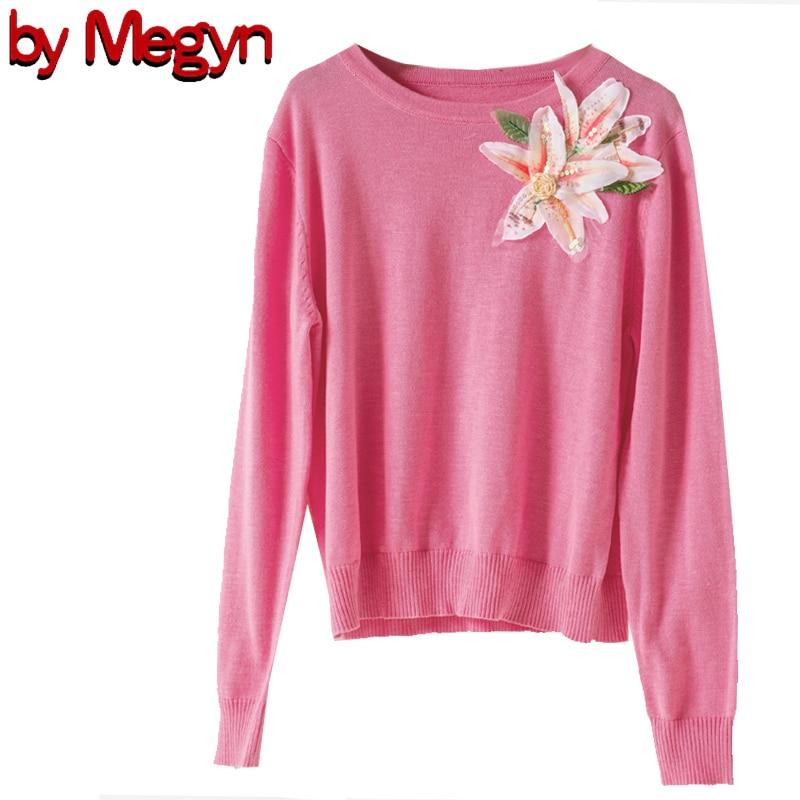 2019 Autumn свитер женский Sweater Women Fashion O-neck Long Sleeve Wool Pink Green White Lily Flower Top Jumper Runway Style