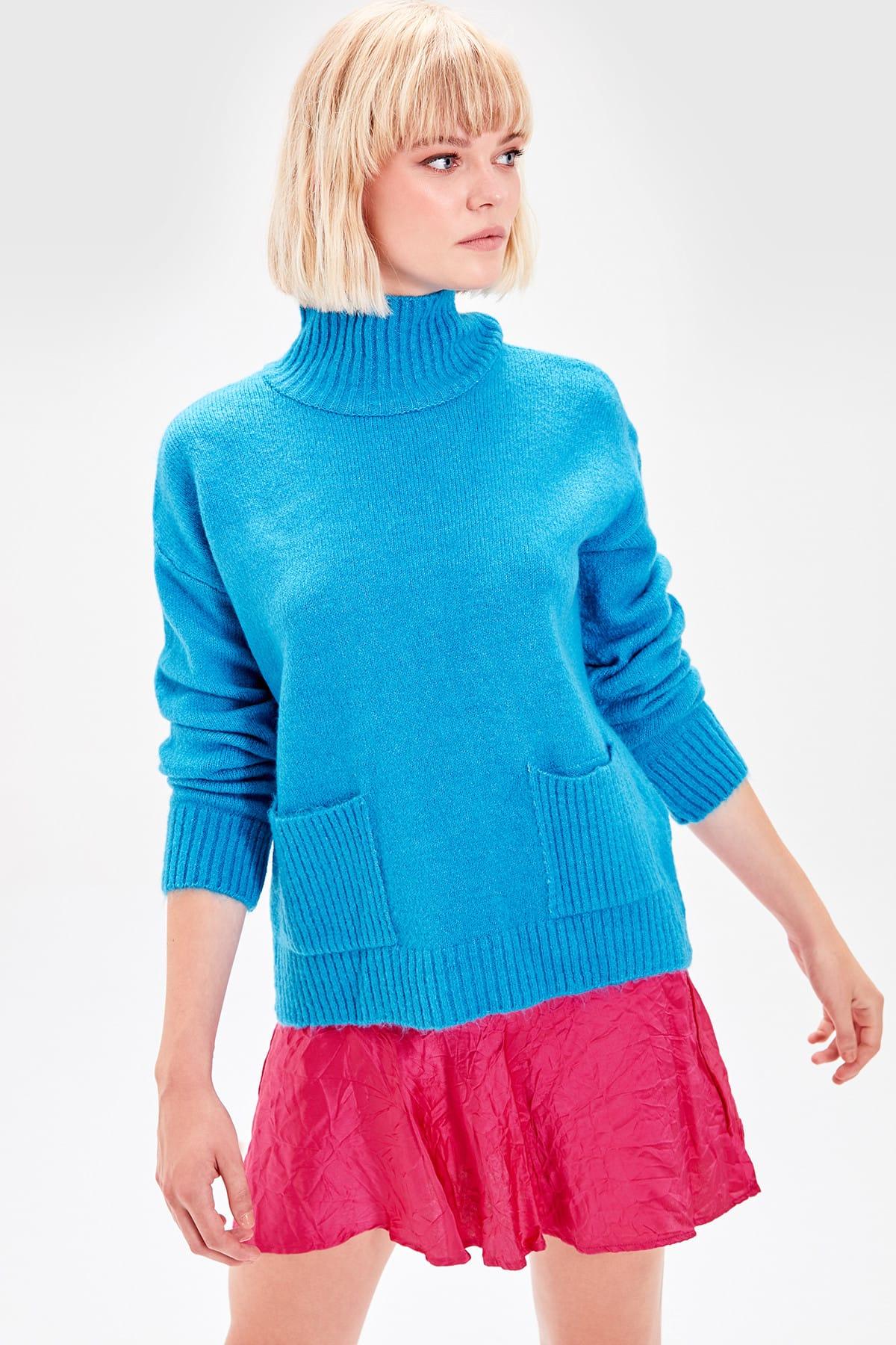 Trendyol Turquoise Pocket Detail Sweater Sweater TWOAW20FV0156