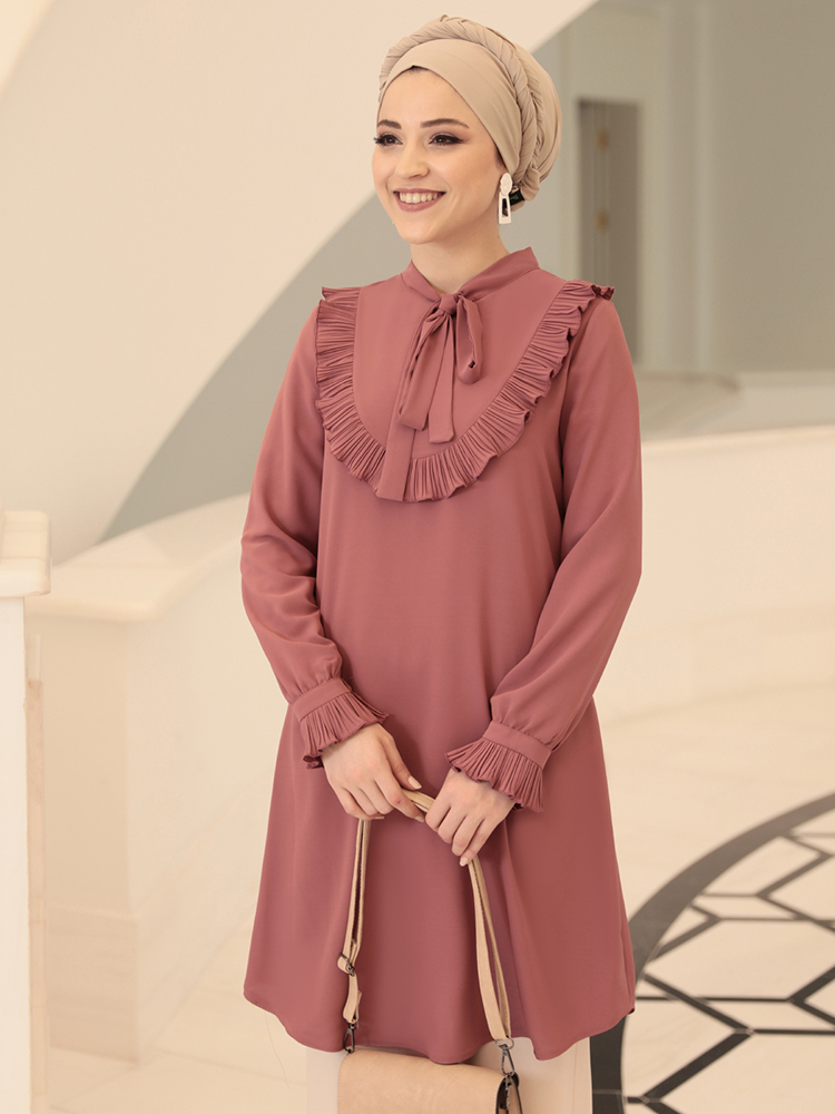 Women Tunic with Bow High Quality Muslim Islamic Tunic Special Design Made in Turkey Dubai Arabic Blouse With Pleated Sleeves