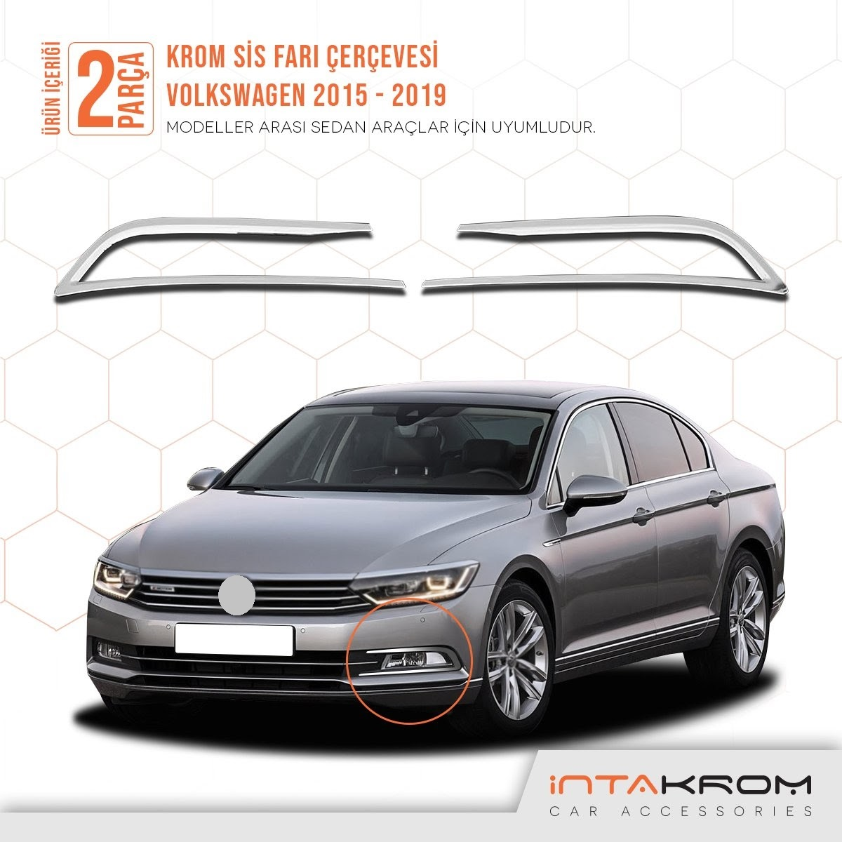 Free Shipping New Style High Quality Easy Montage Bright Chrome 2 Pieces Front  Fog Light Frame For Volkswagen Passat 2015-2019