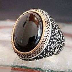 925 فضة حجر كريم عقيق يماني البيضاوي ذكر الدائري