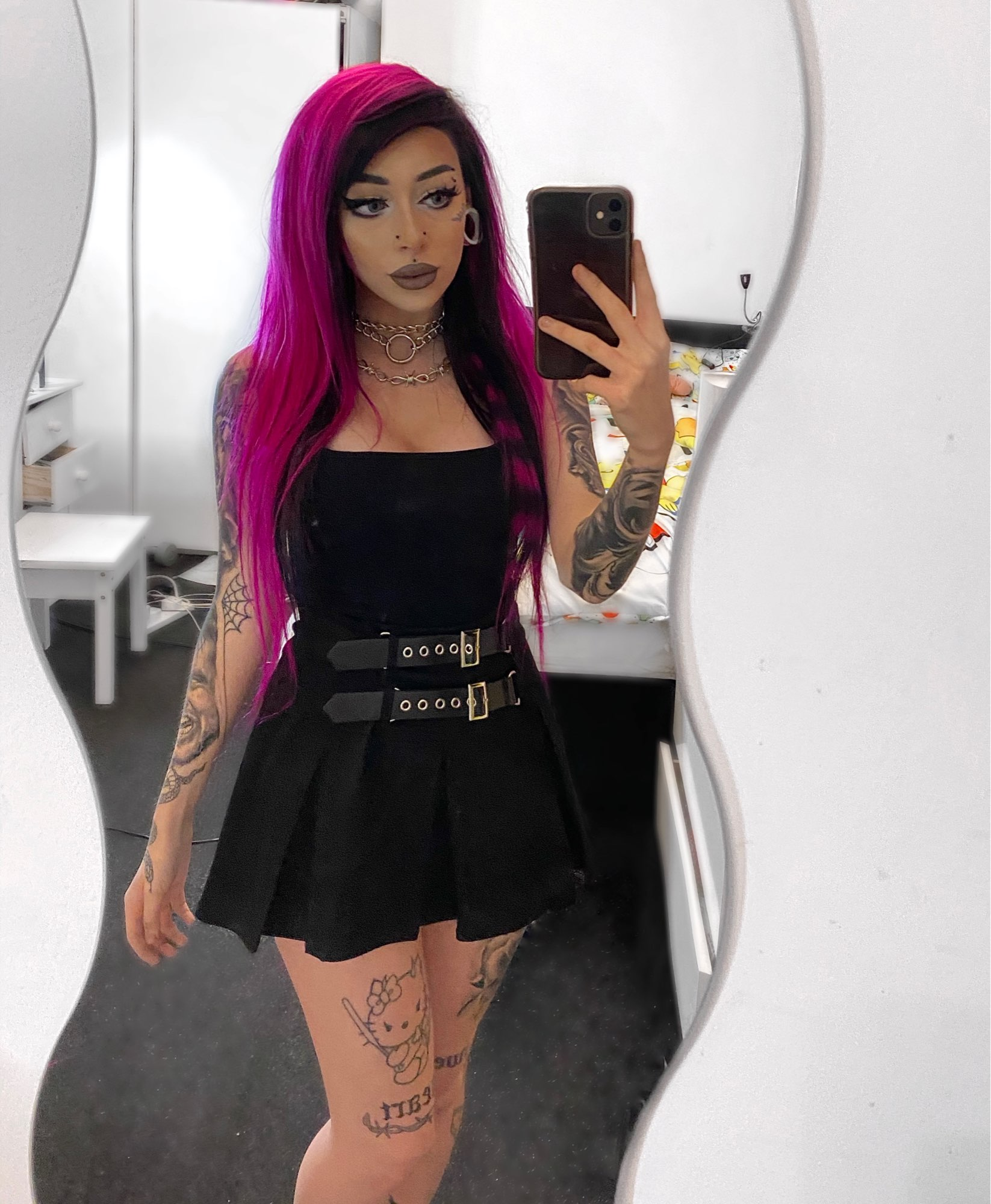 Pleated Gothic Mini Skirt with High Waist and Belts photo review