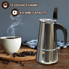 Moka Coffee Pot Espresso Latte Percolator Stove Coffee Maker Espresso Pot Italian Coffee Machine 200/300/450ml Stainless Steel