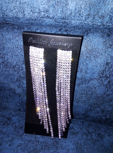 New Silver Color Rhinestone Crystal Long Tassel Earrings for Women Bridal Drop Dangling Earrings Brincos Wedding Jewelry WX006 photo review