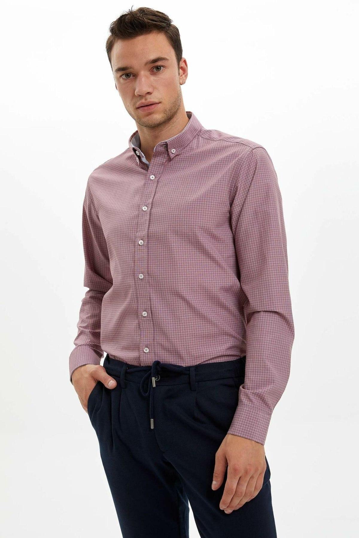 DeFacto Men Fashion Plaid Pattern Shirts Long Sleeve Shirts Mens Casual Lapel Collar Casual Shirt Tops New -L6077AZ19AU-L6077AZ19AU