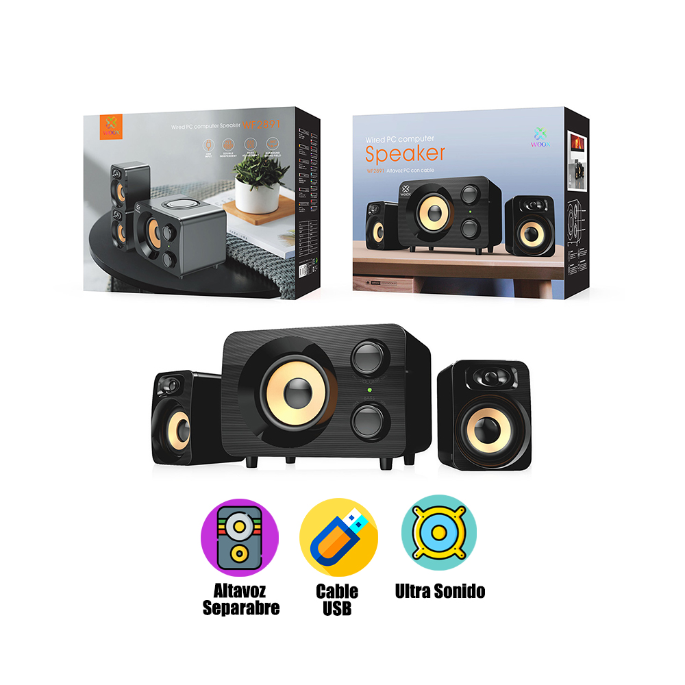 Speaker Speaker in Black for PC with Cable and Sound Regulation and Connection in Jack AUX Bass Ideal Gift for C