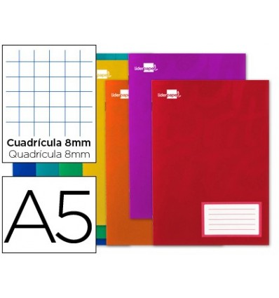 BOOK LIDERPAPEL WRITE A5 16 SHEETS 60G/M2CUADRO 8MM WITH MARGIN 20 Units