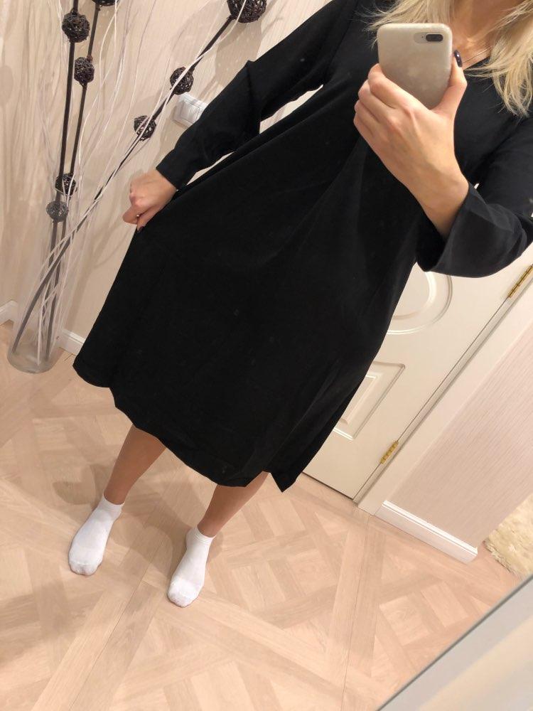 Korean Style Women Long Dress Spring New Women Retro Dress Solid Color V neck Loose Long sleeve Dress Female photo review