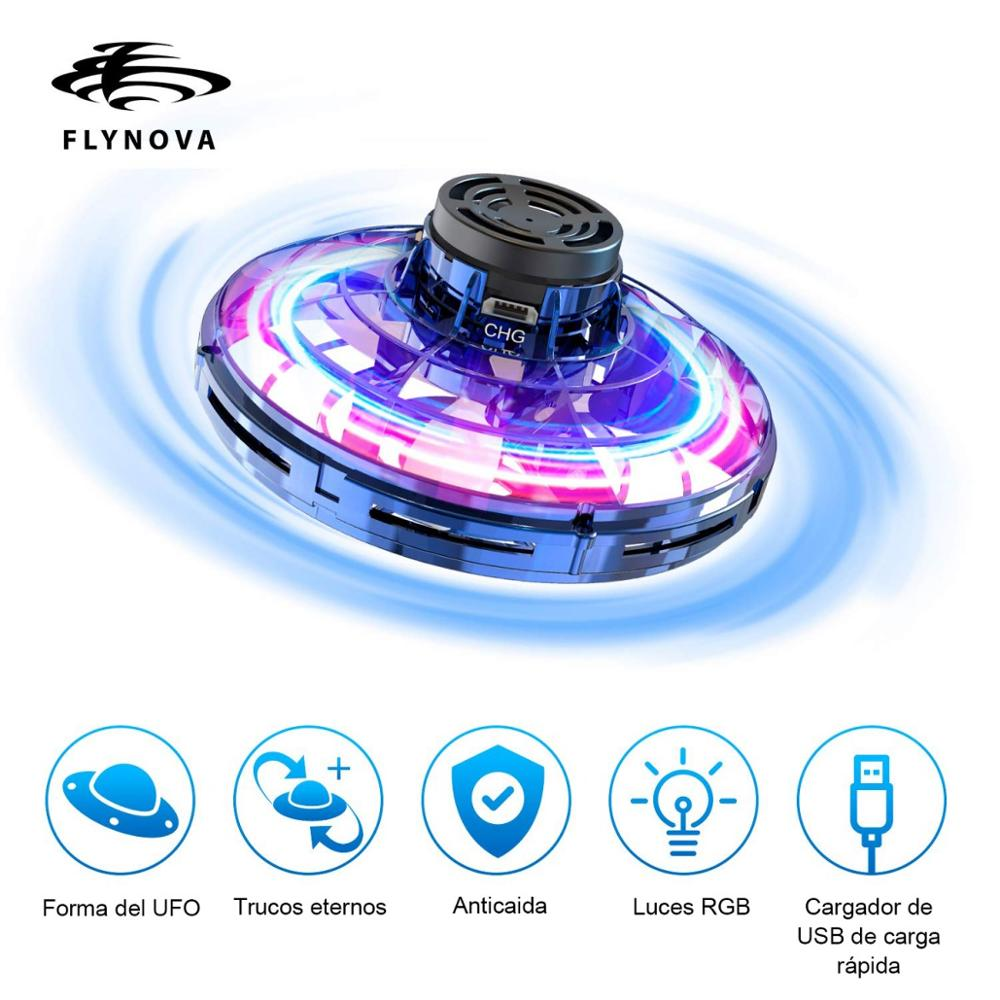 Flynova Mini Drone Helicopter Flying LED UFO Type Finger Spinner Improves Drone Plane Flight Gyro Toy Gift Adult Children