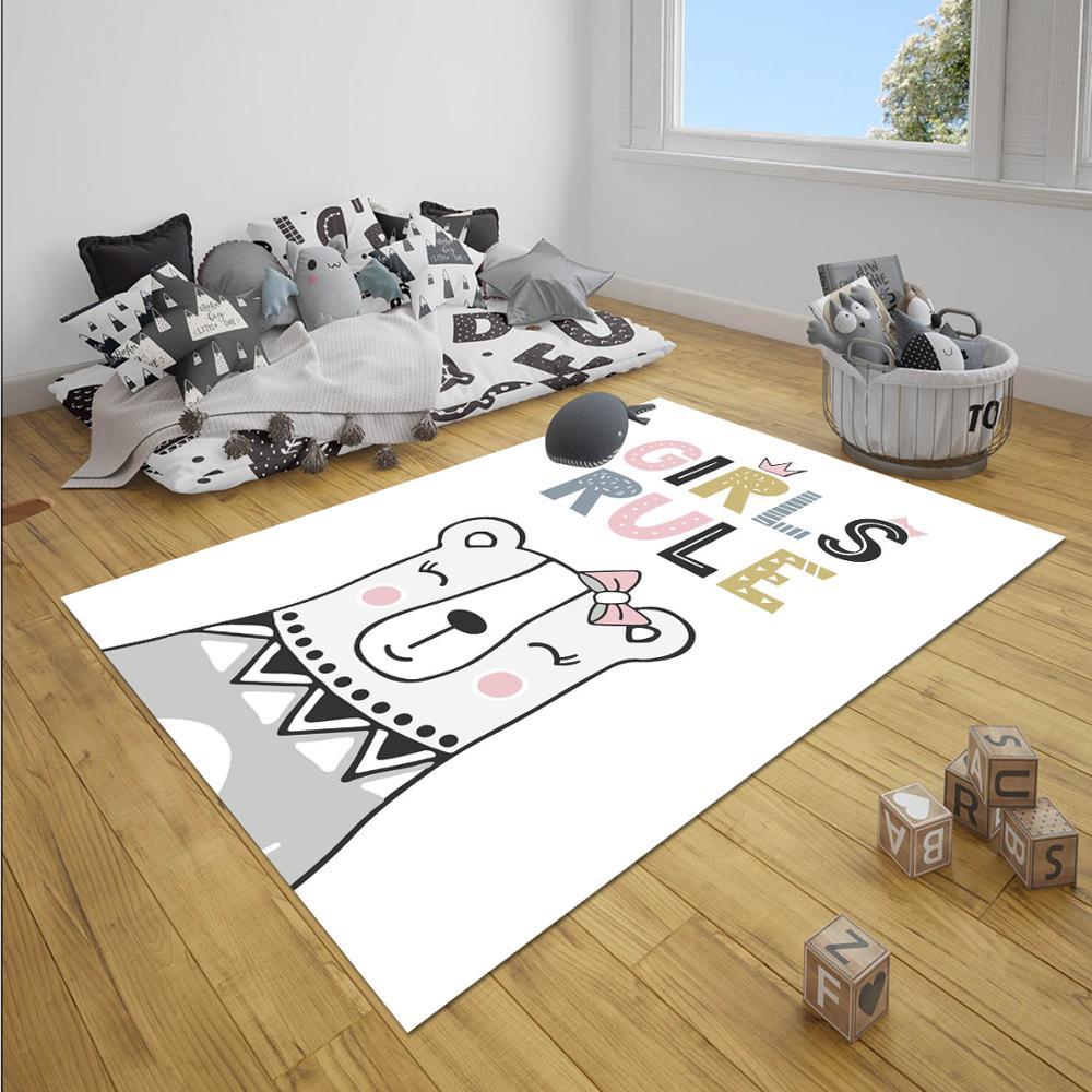 Else Gray Pink Girls Rule Sweet Cute Bear 3d Print Non Slip Microfiber Children Baby Kids Room Decorative Area Rug Mat